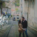 couple near lisbon funicular