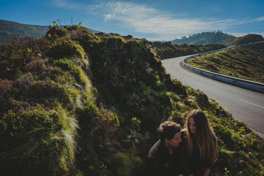 couple on a road near Lagoa do Fogo