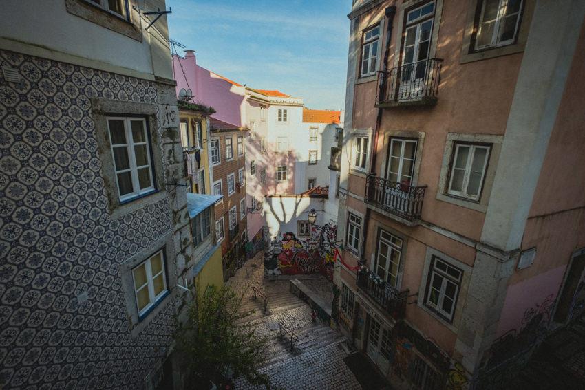 alfama narrow steep alleys