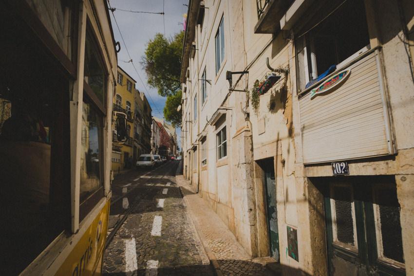 narrow alleys with tram tracks