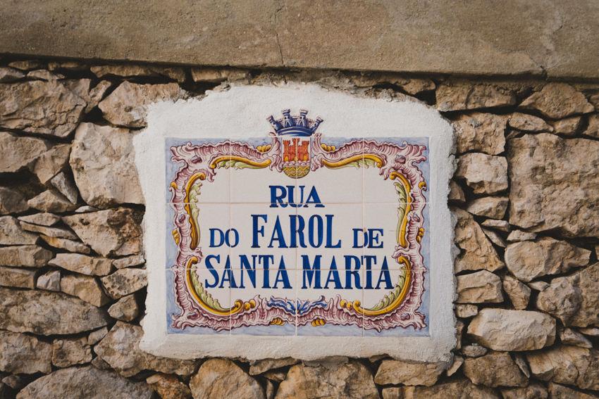 azulejo street sign for Rua do Farol de Santa Marta in Cascais