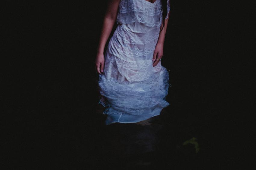 wet wedding dress detail