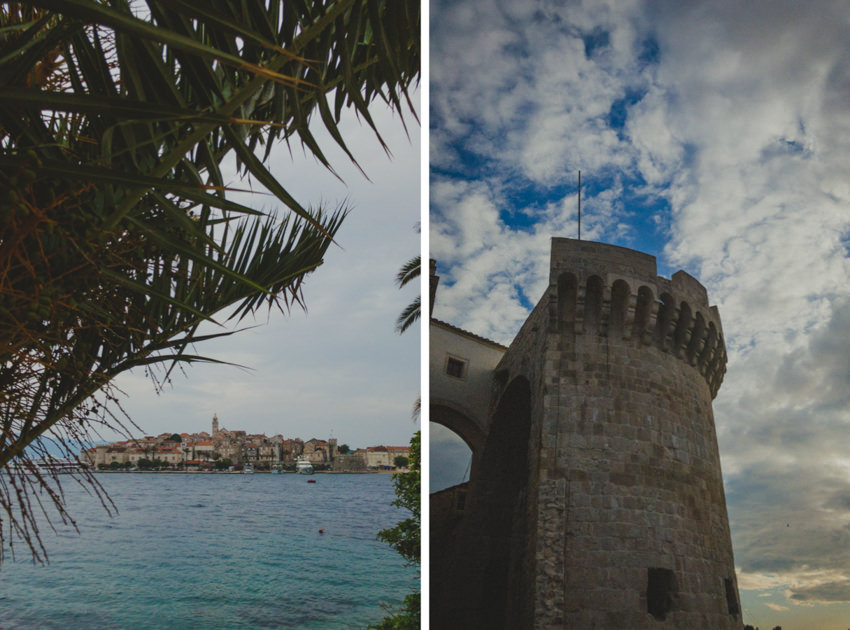 Korčula Old Town and sea