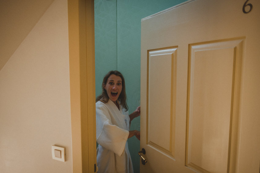 bride opening the door