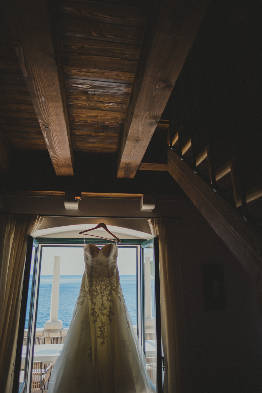 wedding dress and sea view
