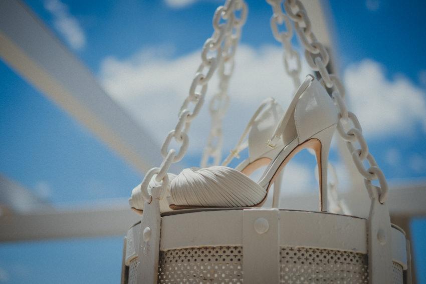 bride's wedding shoes detail