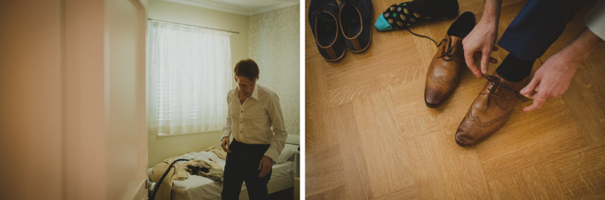 groom in his room putting on shoes