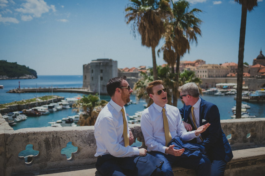 groom, brother and best man at the entrance to Dubrovnik Old Town