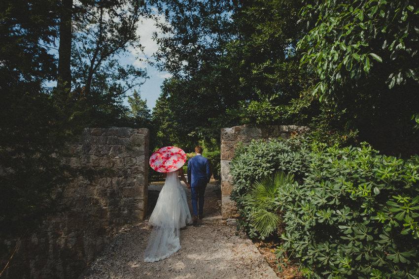 bride and groom walking shot on Lokrum