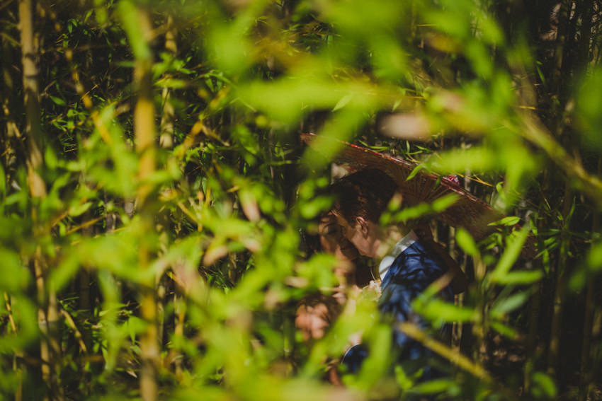 bride and groom in bamboo forest