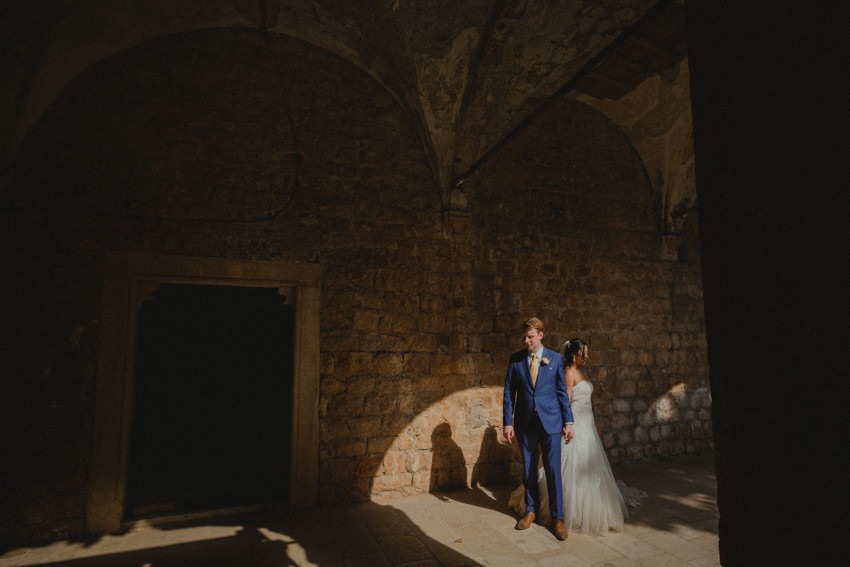 bride and groom session in Dominican monastery on Lokrum