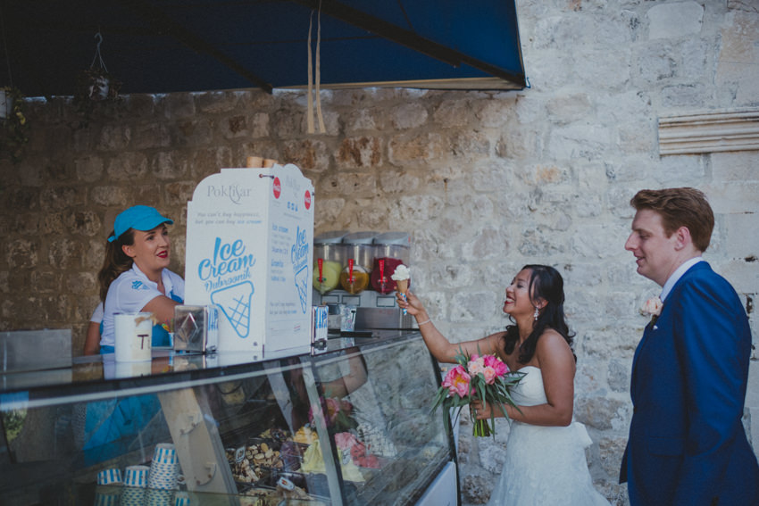 bride buying an ice-cream
