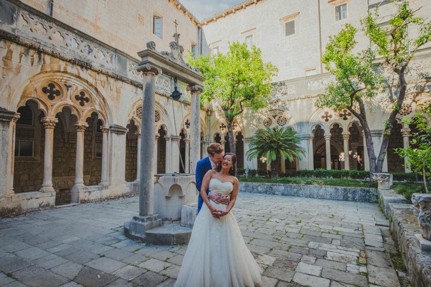 emotional moment between newlyweds