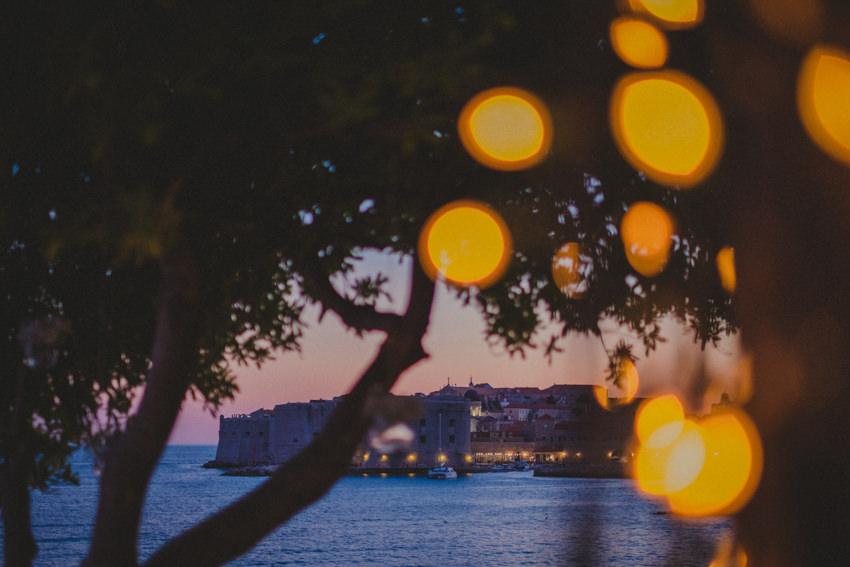 dusk shot of Old Town Dubrovnik and fort St. John