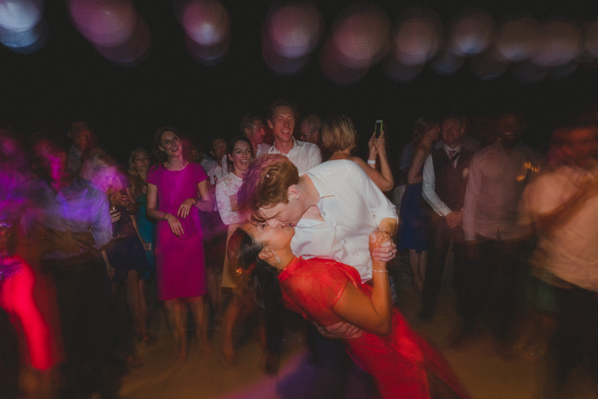 couple kissing on the dance floor