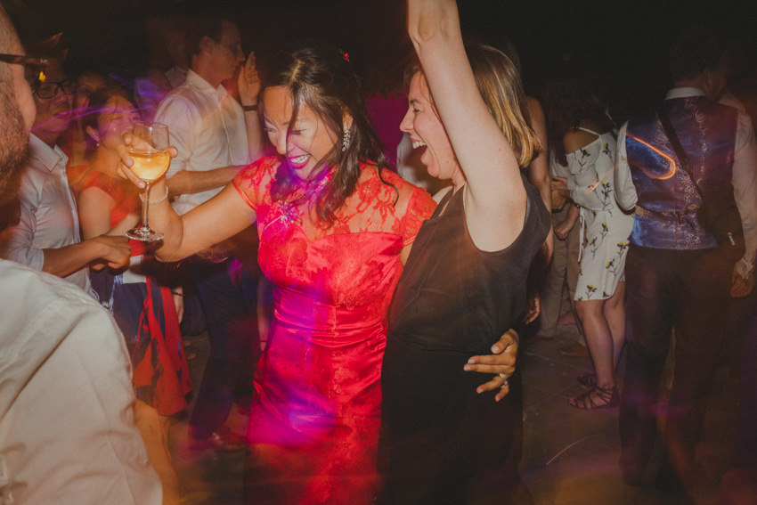 bride partying with friends