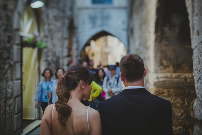 couple walking around Diocletian's Palace