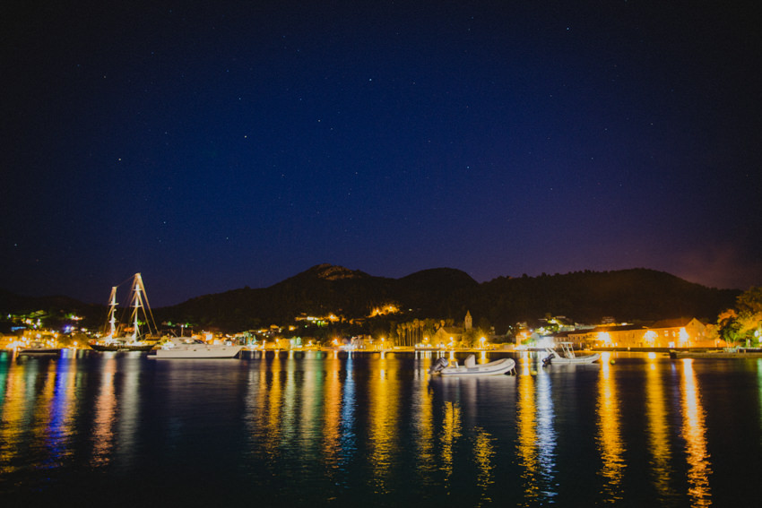 Lopud harbour at night time
