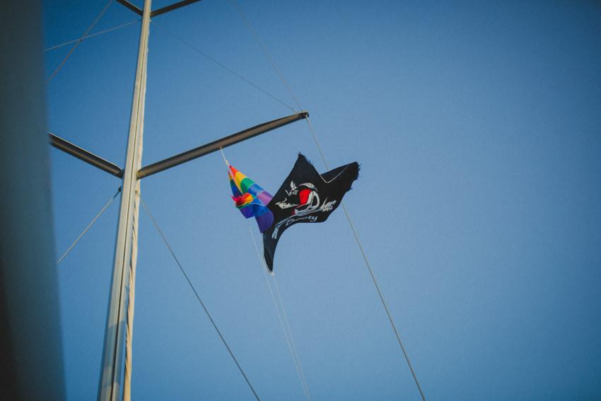 gay flag on the yacht