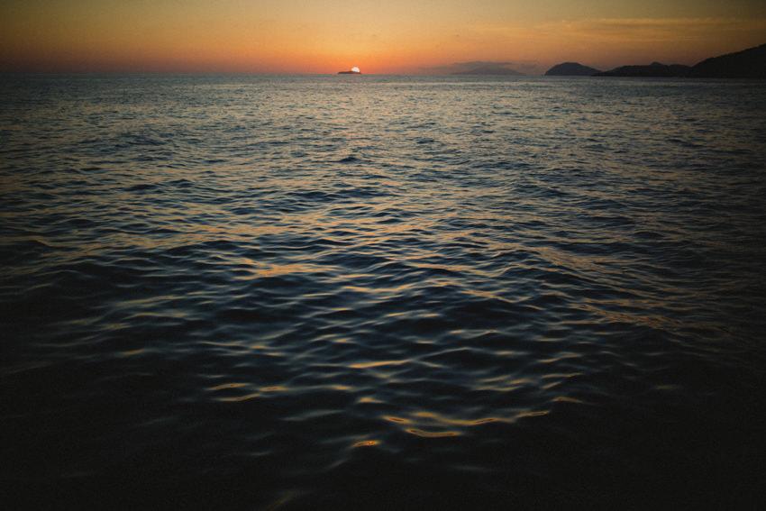 Dubrovnik sunset at sea