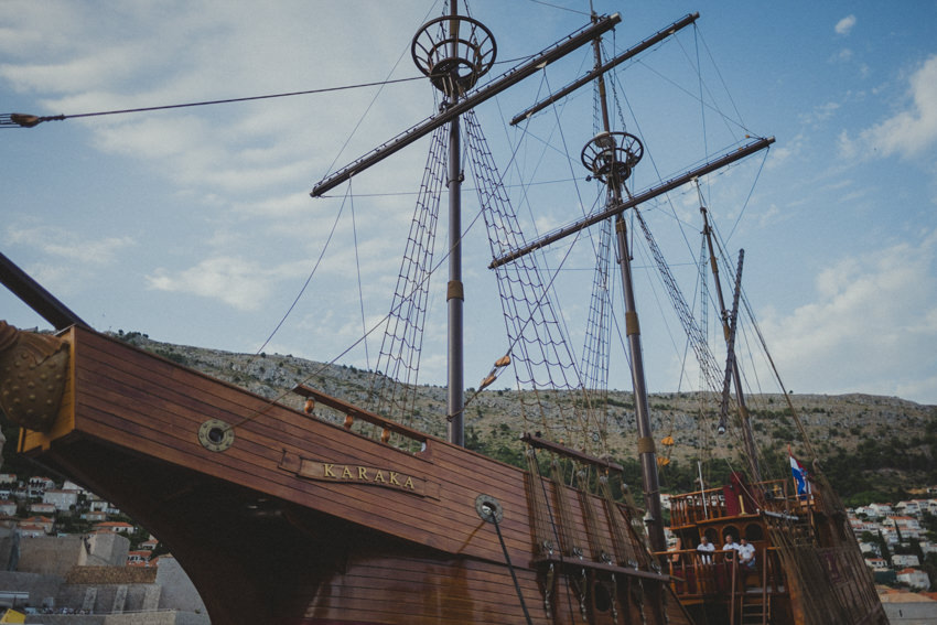 Karaka boat in Dubrovnik Old Town harbor