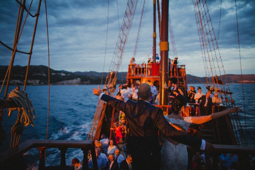 couple and their guests on Karaka ship
