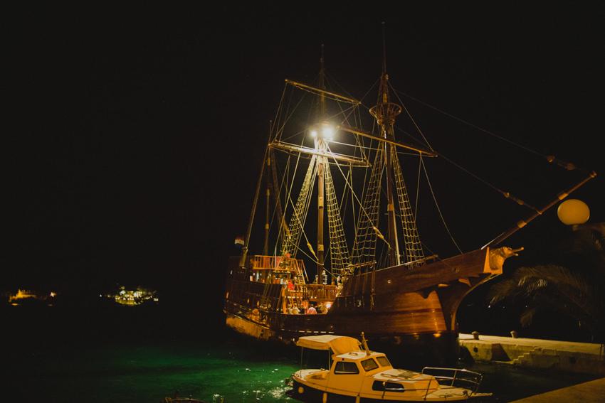 embarking on the Karaka boat in the night