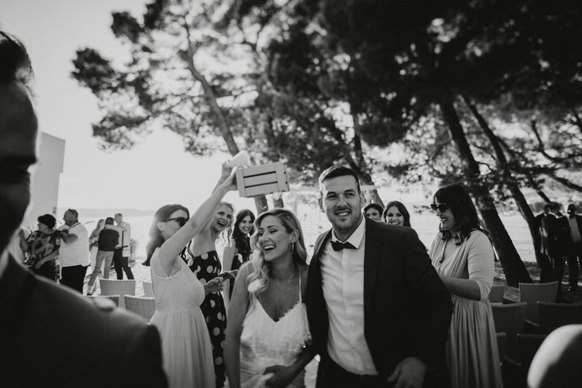 leaving the ceremony venue on Makarska beach