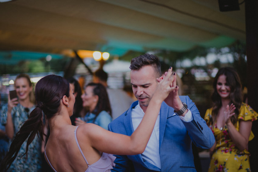 best man and maid of honor dancing