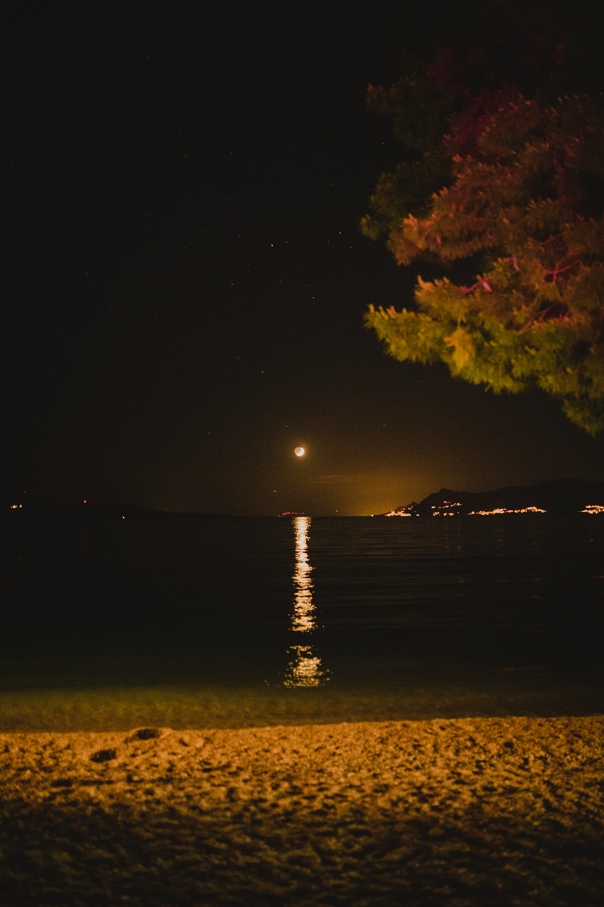 low moon over Makarska