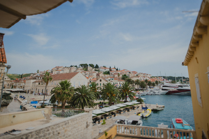 terrace overlooking Hvar harbor