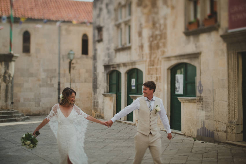 stroll through old town korcula wedding photographer